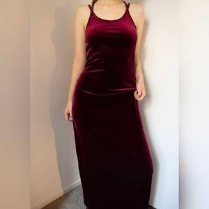 Vintage red velvet strappy long dress